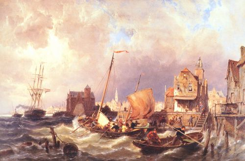Shipping before a Dutch Harbour Town by Pieter Christian Dommerson