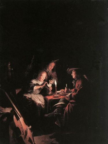 Cardplayers at Candlelight by Gerrit Dou