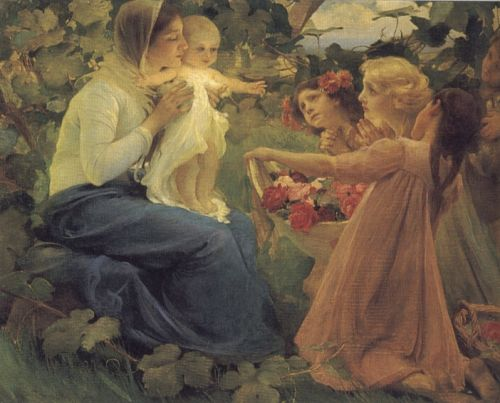 Presenting Flowers to the Infant by Franz Dvorák