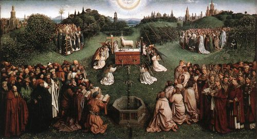 The Ghent Altarpiece - Adoration of the Lamb by Jan van Eyck