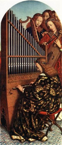 The Ghent Altarpiece - Angels Playing Music by Jan van Eyck