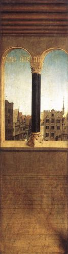 The Ghent Altarpiece - Arched Window with a View by Jan van Eyck