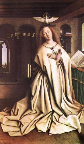 The Ghent Altarpiece - Mary of the Annunciation by Jan van Eyck