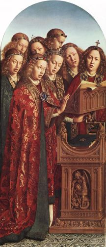 The Ghent Altarpiece - Singing Angels by Jan van Eyck