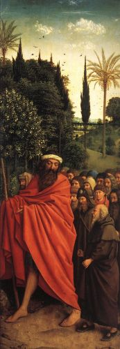 The Ghent Altarpiece - The Holy Pilgrims by Jan van Eyck