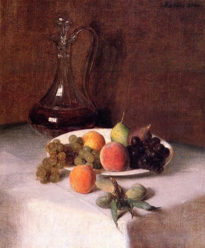 A Carafe of Wine and Plate of Fruit on a White Tablecloth by Henri Fantin-Latour