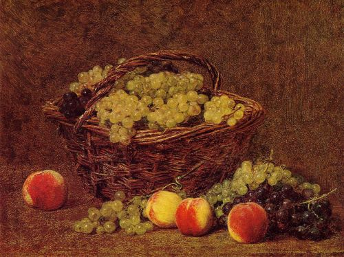 Basket of White Grapes and Peaches by Henri Fantin-Latour