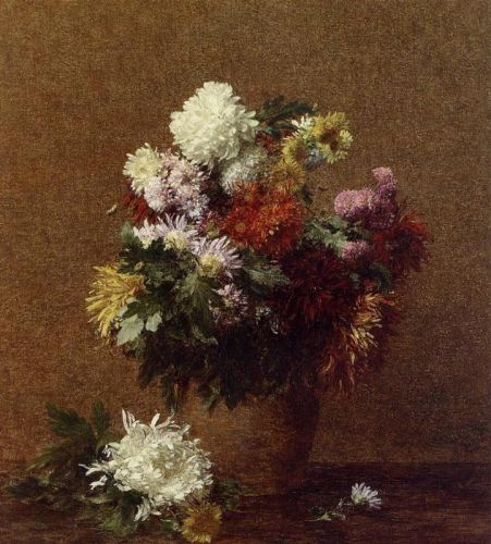 Large Bouquet of Chrysanthemums by Henri Fantin-Latour