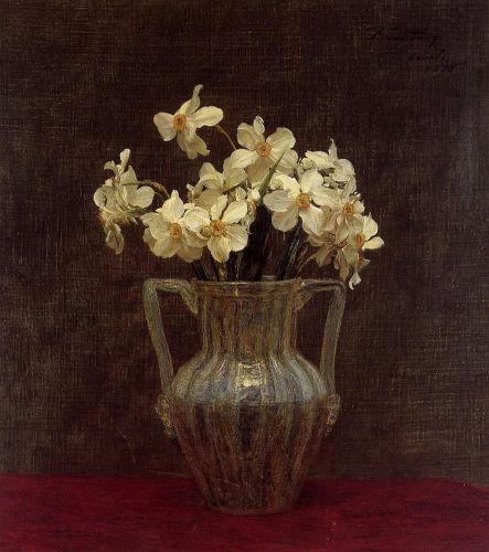 Narcisses in an Opaline Glass Vase by Henri Fantin-Latour