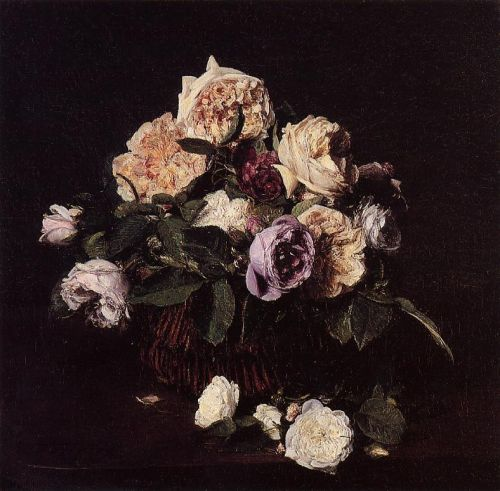 Roses in a Basket on a Table by Henri Fantin-Latour