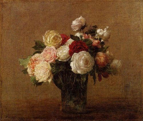 Roses in a Glass Vase by Henri Fantin-Latour