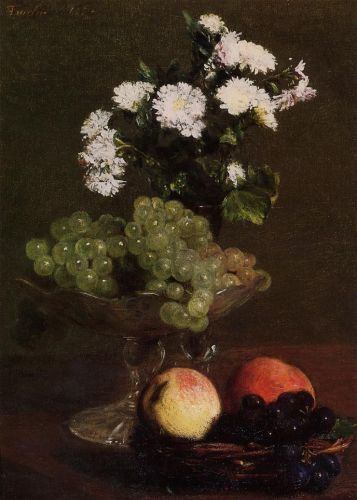 Still Life - Chrysanthemums and Grapes by Henri Fantin-Latour