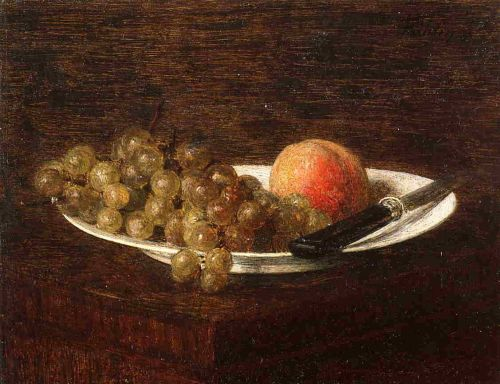 Still Life - Peach and Grapes by Henri Fantin-Latour