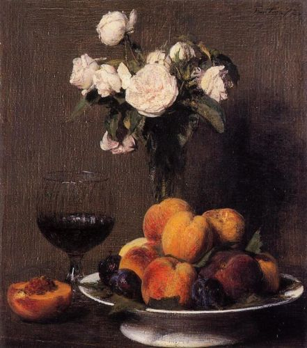 Still Life with Roses, Fruit and a Glass of Wine by Henri Fantin-Latour