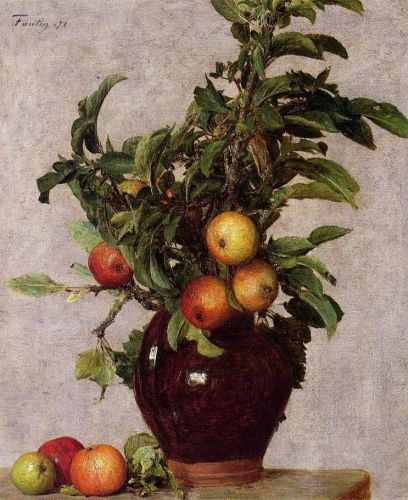 Vase with Apples and Foliage by Henri Fantin-Latour
