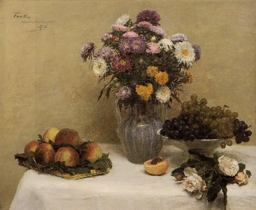 White Roses, Chrysanthemums, Peaches and Grapes on a Table by Henri Fantin-Latour