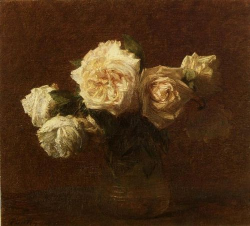Yellow Pink Roses in a Glass Vase by Henri Fantin-Latour