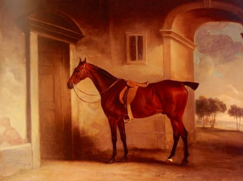 A Saddled Bay Hunter In A Stableyard by John Ferneley