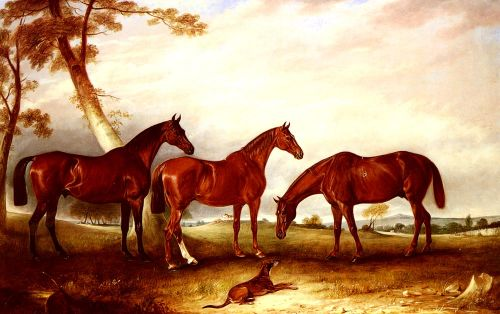 Marvel, KingFisher And The Lad, Three Hunters Belonging To W by John Ferneley