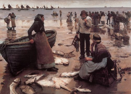 A Fish Sale on a Cornish Beach by Stanhope Alexander Forbes