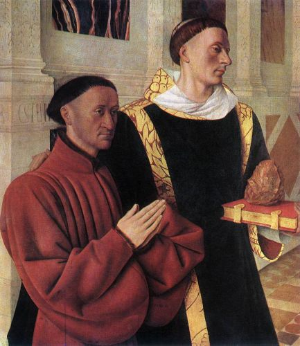 Estienne Chevalier with St Stephen by Jean Fouquet