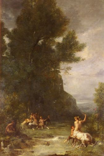 Centaurs and Centauresses Exercising by Shooting with the Bo by Eugene Fromentin