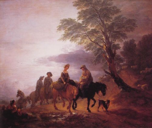 Open Landscape with Mounted Peasants by Thomas Gainsborough