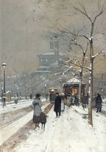 Figures in the Snow, Paris by Eugène Galien-Laloue