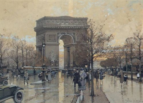 The Arc de Triomphe, Paris by Eugène Galien-Laloue
