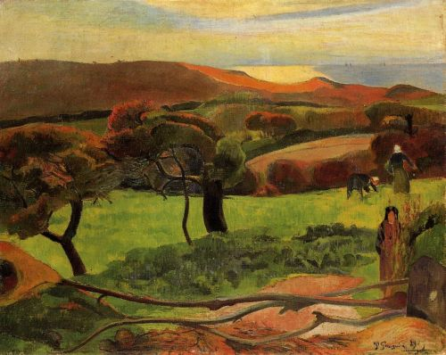 Breton Landscape - Fields by the Sea, 1889 by Paul Gauguin