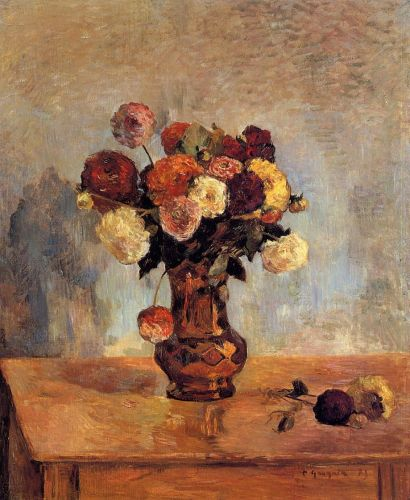 Dahlias in a Copper Vase, 1885 by Paul Gauguin
