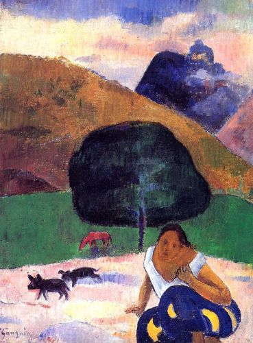 Landscape with Black Pigs and a Crouching Tahitian, 1891 by Paul Gauguin