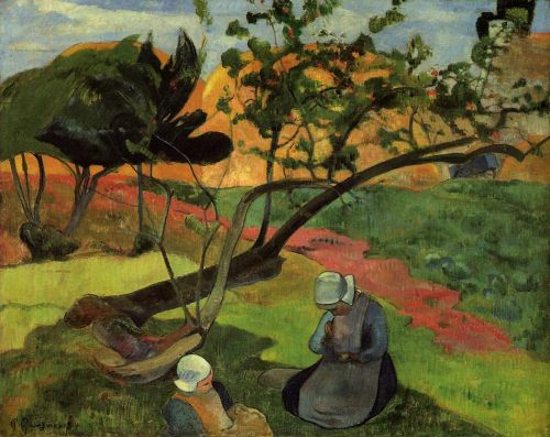 Landscape with Two Breton Girls, 1889 by Paul Gauguin