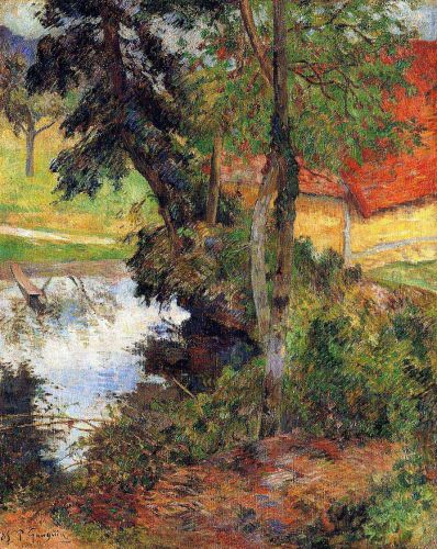 Red Roof by the Water, 1885 by Paul Gauguin
