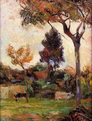 Two Cows in the Meadow, 1884 by Paul Gauguin