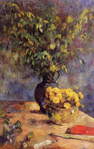 Two Vases of Flowers and a Fan by Paul Gauguin