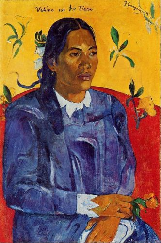 Woman with a Flower by Paul Gauguin