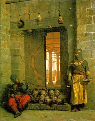 Heads of the Rebel Beys at the Mosque of El Hasanein, Cairo by Jean-Léon Gérôme