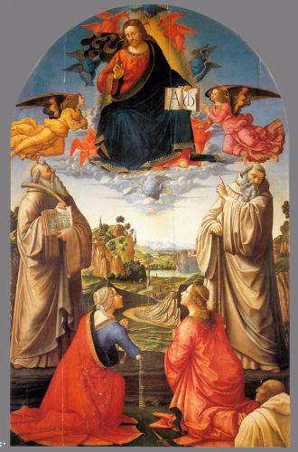 Christ in Heaven with Four Saints and a Donor by Domenico Ghirlandaio