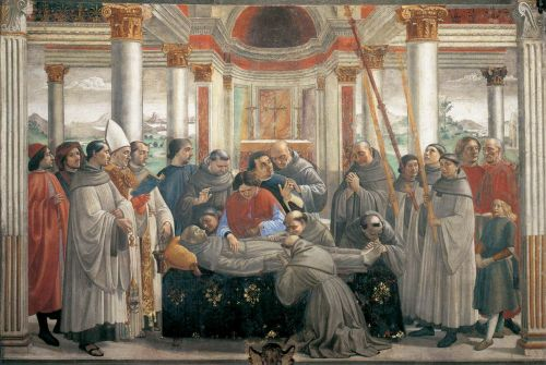 St Francis cycle - Obsequies of St Francis by Domenico Ghirlandaio