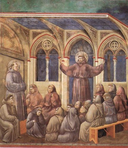 Legend of St Francis: 18. Apparition at Arles by Giotto
