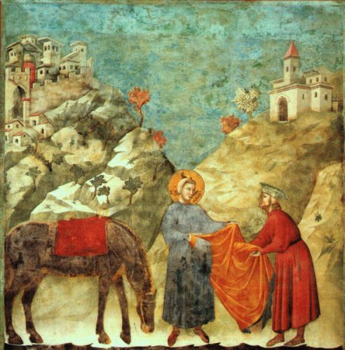 Legend of St Francis: 2. St Francis Giving his Mantle to a Poor Man by Giotto