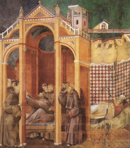 Legend of St Francis: 21. Apparition to Fra Agostino and to Bishop Guido of Arezzo by Giotto