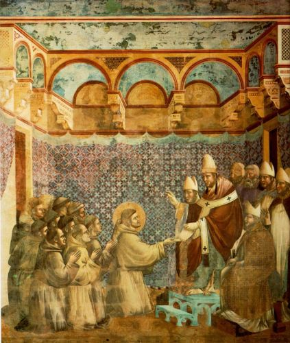 Legend of St Francis: 7. Confirmation of the Rule by Giotto