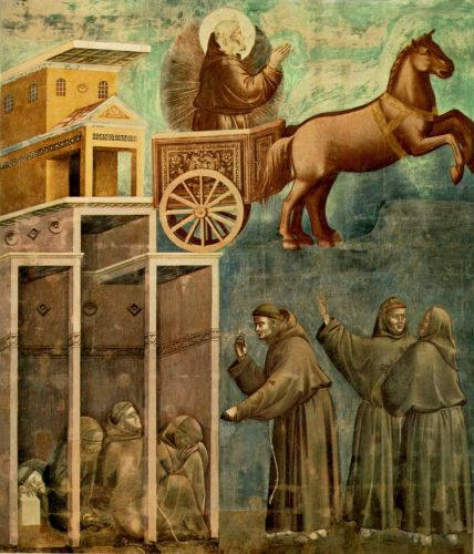 Legend of St Francis: 8. Vision of the Flaming Chariot by Giotto