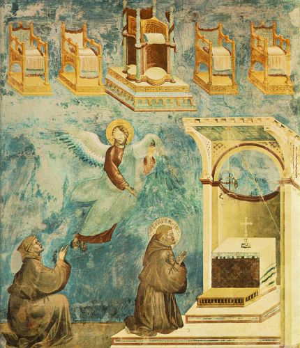 Legend of St Francis: 9. Vision of the Thrones by Giotto