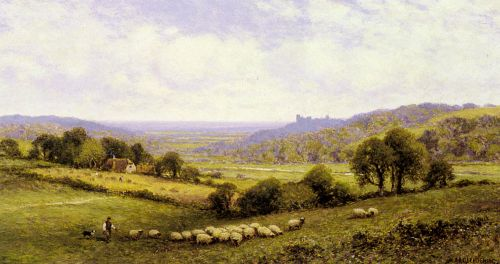 Near Amberley, Sussex, with Arundel Castle in the Distance by Alfred Glendening