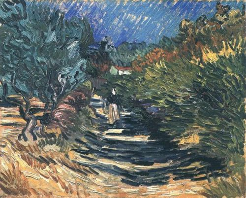 A Road at Saint-Remy with Female Figure by Vincent van Gogh