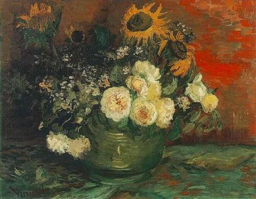 Bowl with Sunflowers, Roses and Other Flowers by Vincent van Gogh