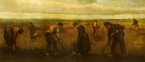 Farmers Planting Potatoes by Vincent van Gogh